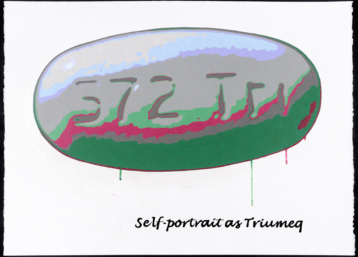 "<br/>Self-Portrait as Triumeq, 2009<br/>22"" x 30""<br/>acrylic and opaque marker on paper"