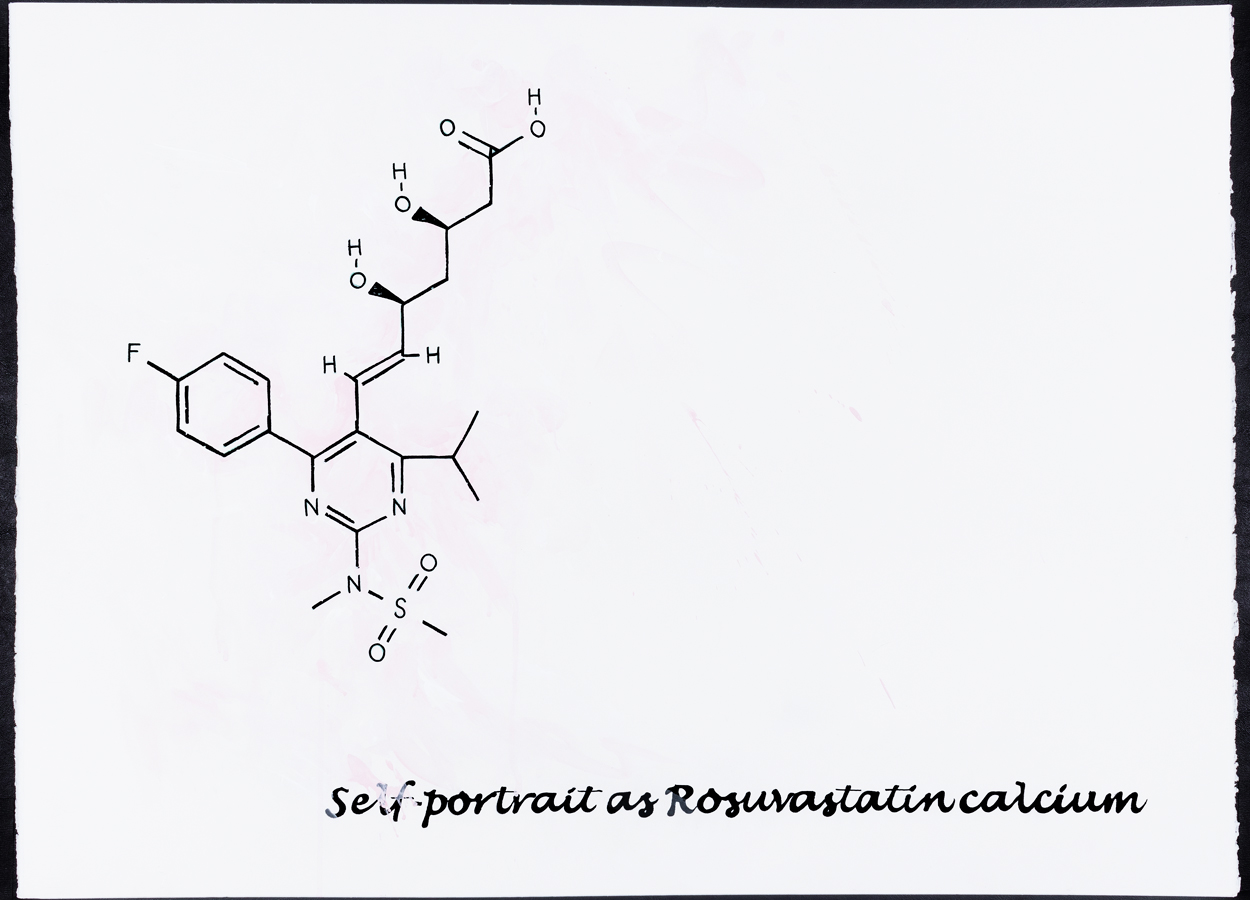 "<br/>Self-Portrait as Rosuvastatin Calcium, 2009<br/>22"" x 30""<br/>acrylic and opaque marker on paper"