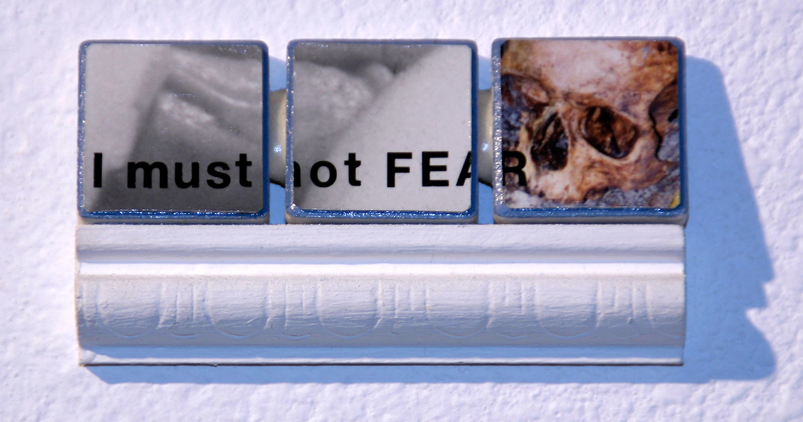 "<br/>Day 171, 1999<br/>1"" x 3""<br/>acrylic, photographs, lettering and pencil on ceramic tiles"