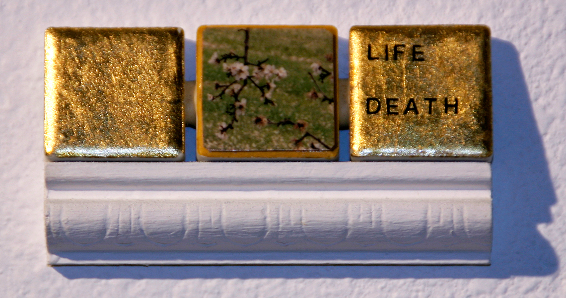 "<br/>Day 5, 1998<br/>1"" x 3""<br/>gold leaf, photo, acrylic and lettering on ceramic tiles"