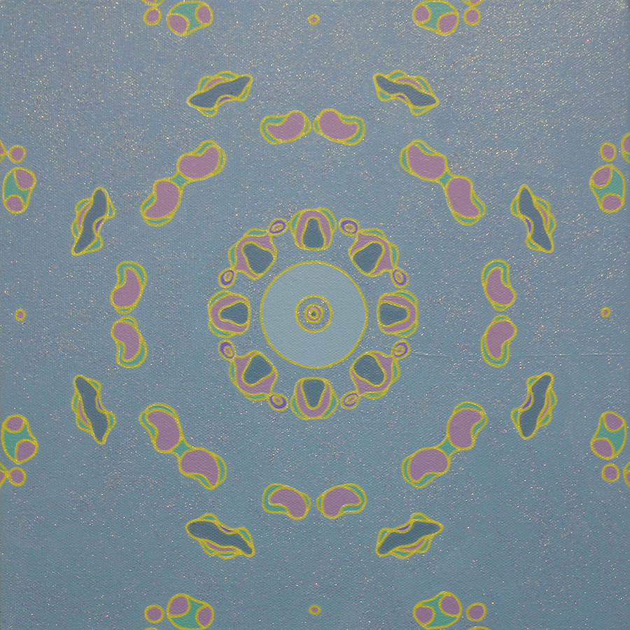 "<br/>Hatchie Storax, 2011<br/>12"" x 12"" x 1<span>½</span>""<br/>acrylic, paper, opaque marker and glitter on canvas"